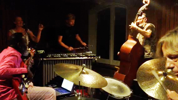 Jamaahladeen Tacuma, Randi Pontopidan, Martin Fabricius, Jens Jefsen and Ole Theil at a late night jam at Summersion 2014